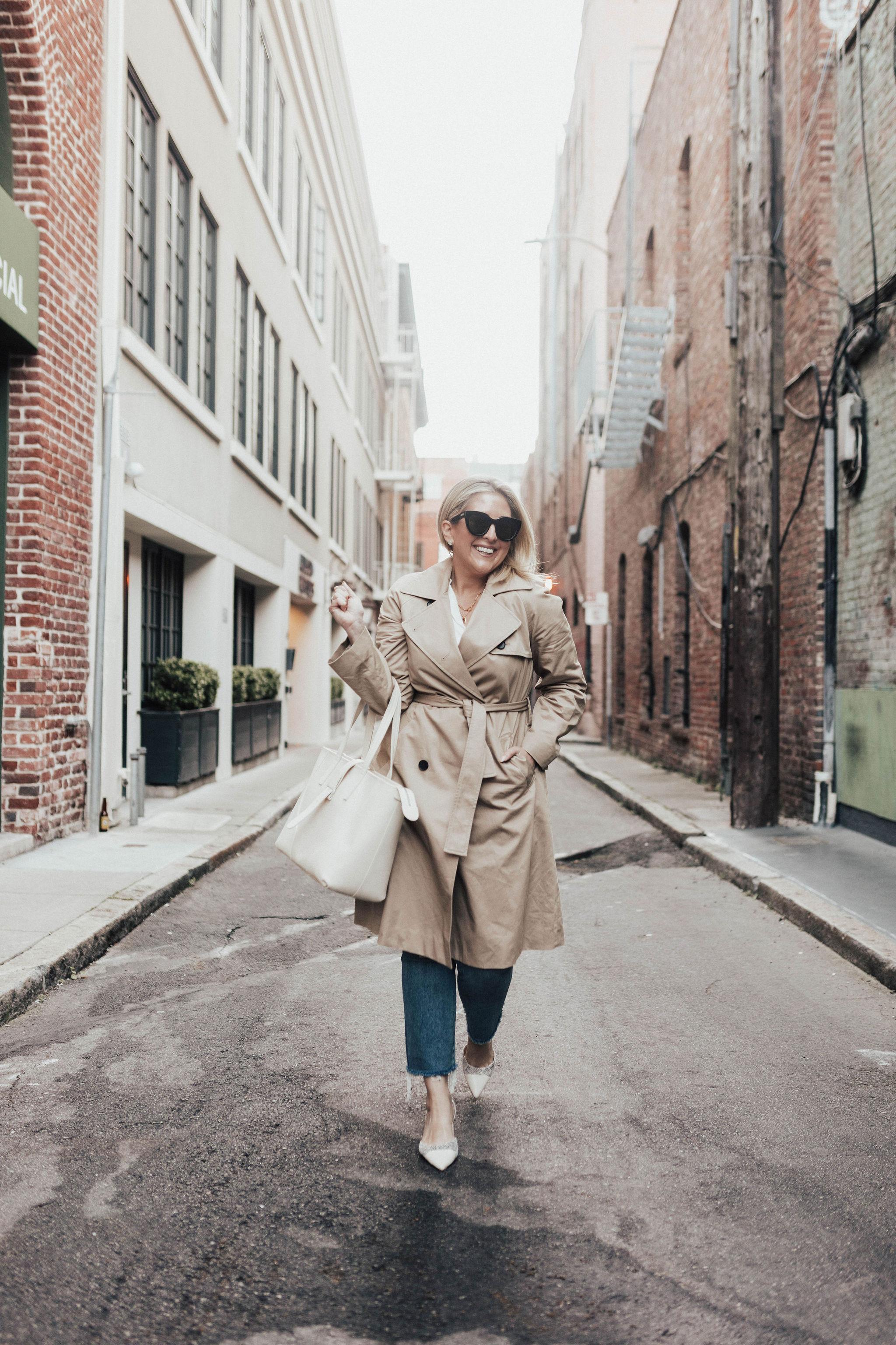 Everlane Lookbook, Style Inspired By Angelina Jolie, KatWalkSF wears an Everlane trench and SENREVE Voya tote