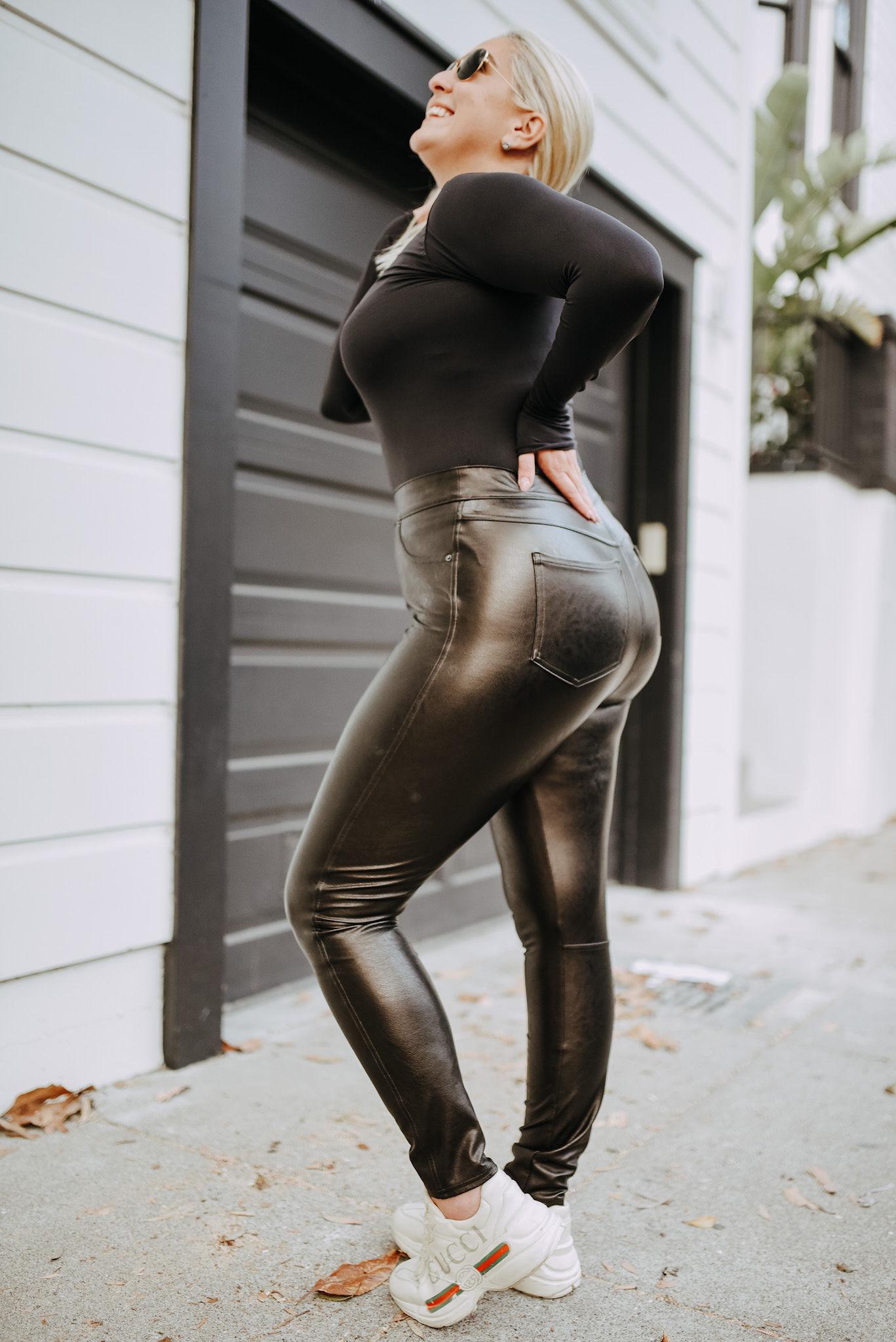 KatWalkSF, SKIMS bodsuit, leather-like skinny pant, spanx skinny pant, spanx leather-like skinny pant