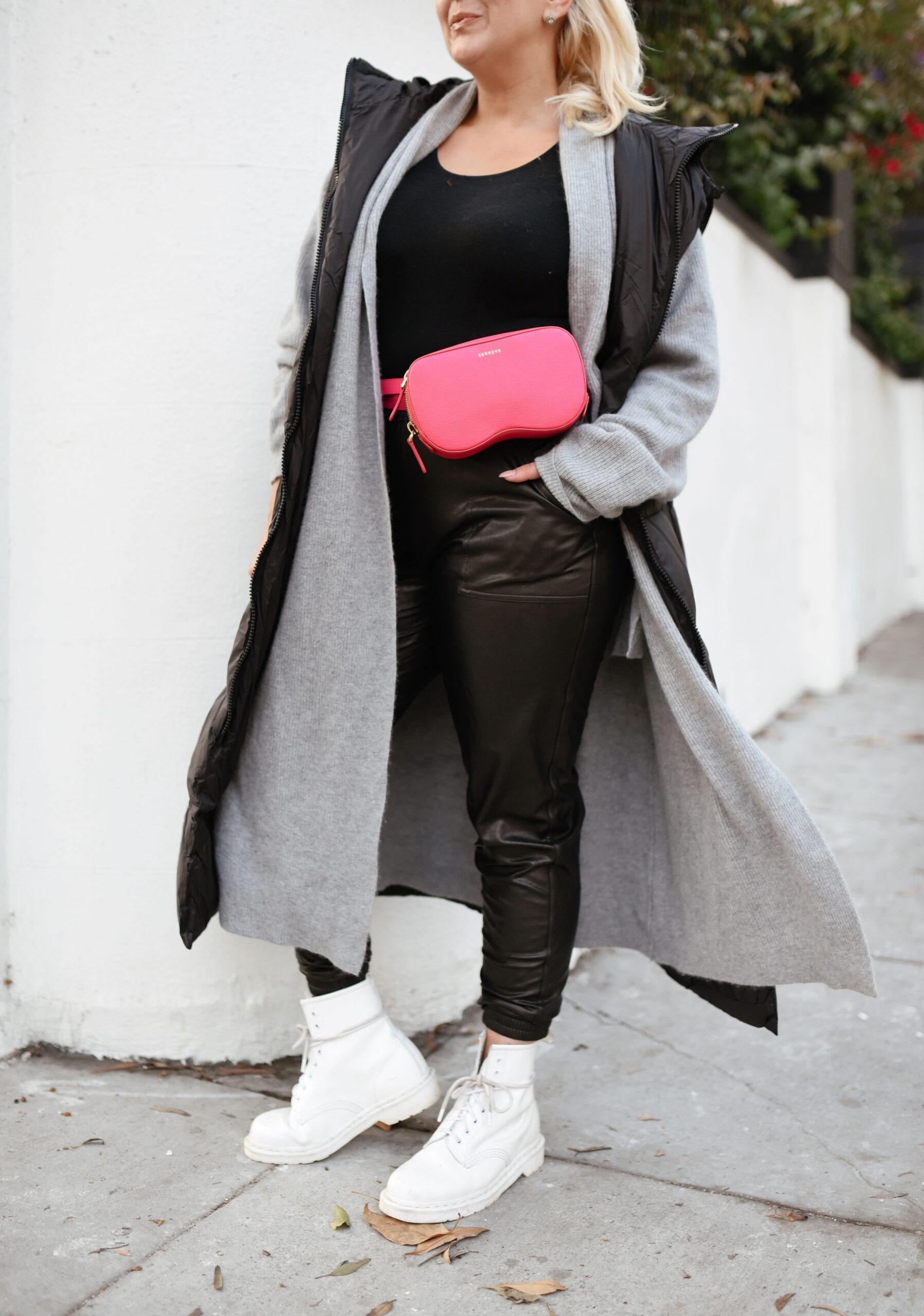 Leather-like jogger, KatWalkSF, Kat Ensign, Spanx joggers, Spanx leather-like joggers, SKIMS bodysuit, Spanx, Senreve Coatigan, Senreve belt bag