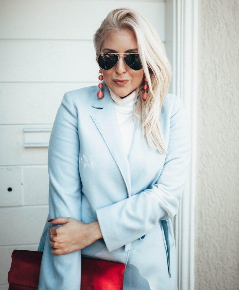 Banana Republic, Good American, Public Desire, Velvet Clutch, Blue Coat, Baby Blue Coat, Kat Ensign, KatWalkSF, SF Blogger, SF Style, Stylist, White Hair, Fall Fashion, Black Friday, Thanksgiving